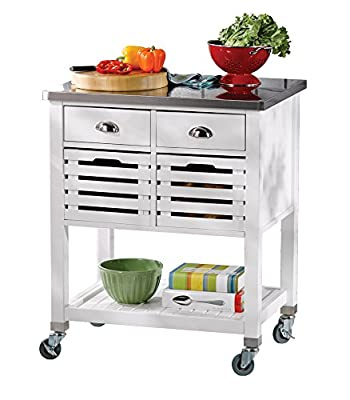 Linon Hudson White Kitchen Cart, by Linon Home Décor Products Inc