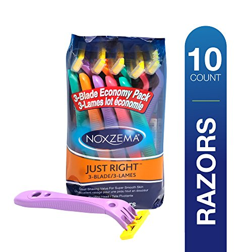Noxzema Just Right 3-Blade Razors, 10 Count; Pivoting Head; Multicolor, Triple Blade Disposable Razors with Pivoting Head Adjust to Curves; Features Ultra-Thin Blade and Plastic Blade Covers