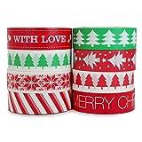 Crafty Rabbit Christmas II Washi Tape - Set of 8 Rolls - 262 Feet Total - Red, Green