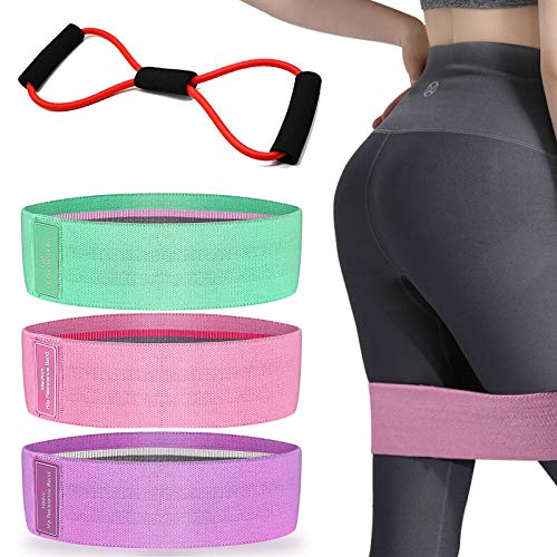 SKDK 4 PCS of Yoga Fitness Suits Hip Belt Resistance Band Men and Women 8-Character Chest Expansion Rope Exercise Muscle Hip Belt tensioner Training Rubber Elastic Band