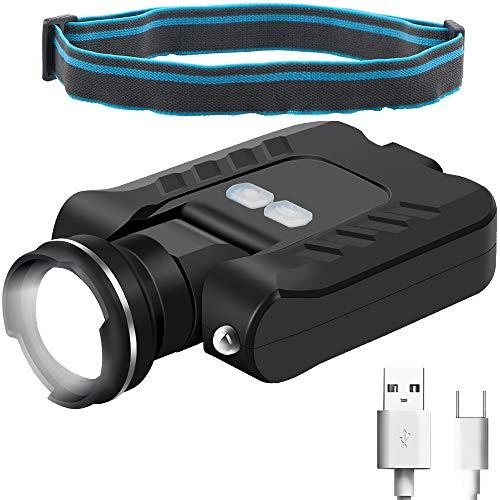 FISHNU FS-7007 Zoombare Kappe Clip Licht – Stirnlampe, USB wiederaufladbare LED Hut Clip Licht, Bewegungssensor Clip Cap Lampe, Aluminiumlegierung, Zoom Kopf Baseball Hut Lampe