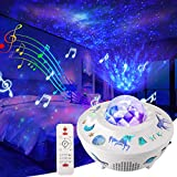 Star Projector Night Light, Delicacy Galaxy Projector Ocean Wave Starry Sky Projector with Bluetooth Speaker,Rotating LED Nebula Cloud Light for Kids Adults Bedroom Decoration -White