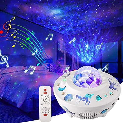 LED Sternenhimmel Projektor, Delicacy Wasserwellen Nachtlicht, DIY Sternenlicht Projektor, Wolken Nebel Projektor, Bluetooth/Timer/Fernbedienung, Spiel Heimkino Dekoration Kinder Geburtstagsgeschenk