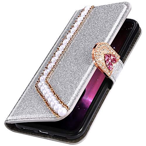 MoreChioce Kompatibel mit Samsung Galaxy S7 Hülle Luxuriös Glitzer Schutzhülle mit Liebe Perlen Diamant Bling Sparkle Lederhülle Klapphülle Brieftasche Handyhülle Etui Magnetverschluss,Silber