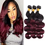 Bk Beckoning Body Wave 3 Bundles 1B/99J Human Hair Weaves Ombre Brazilian Virgin Remy Hair 2 Tone Black To Burgundy Real Hair Weaving Extensions 300g (18 20 22 Inches)