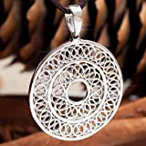 925 Sterling Silver Mandala Chakra Necklace - Sacred Geometry Boho Jewelry - Filigree Hippie Pendant Esoteric Amulet - Yoga Spiritual Meditation Gifts for Women -Tibetan Medallion - Handmade