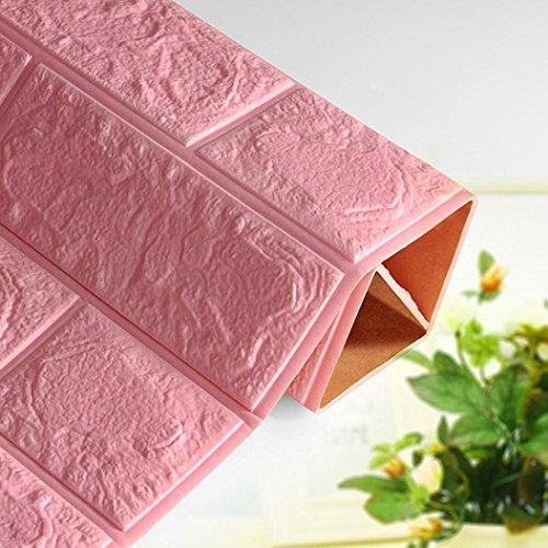 Igemy PE Schaum 3D Tapete DIY Mauer Aufkleber Mauer Dekor Geprägt Ziegel Stein (Pink)