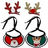 Olgaa 2 Pack Christmas Dog Bandana Santa Claus Antlers Scarf Accessories with 2 Pcs Reindeer Antlers...