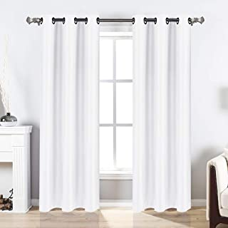 Valea Home Blackout Curtains Grommet Faux Silk Satin Room Darkening Curtain Drapes for Bedroom, 38x 63 inch, 2 Panel, White