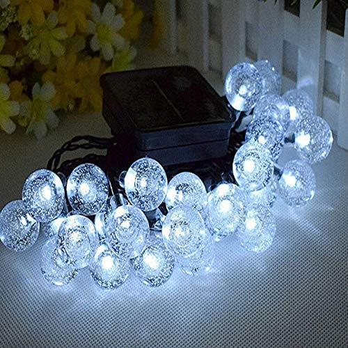 PULLEY Luces solares para jardín, 30/50 LED al aire libre, luces de hadas, bola de cristal, impermeable, iluminación decorativa para jardín, patio, Navidad, clase energética A