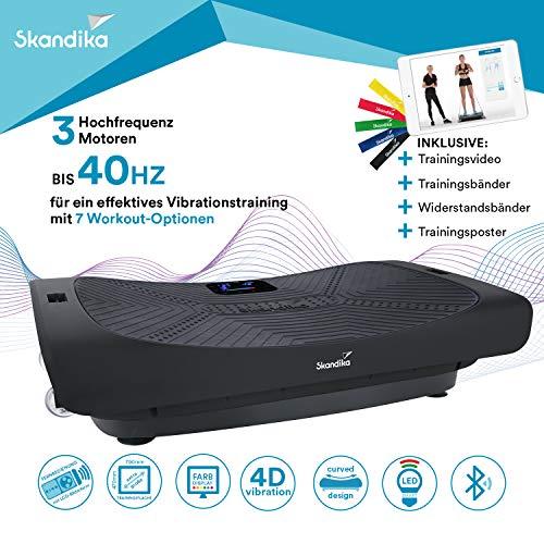 skandika 4D Vibrationsplatte V3000 Vibration Plate im Curved Design mit Smart LED Technologie, Trainingsvideo, Bluetooth-Lautsprecher und Trainingsbändern (matt schwarz)