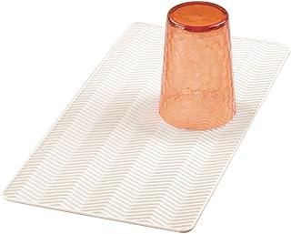 mDesign Protector de fregadero pequeño – Alfombrilla antideslizante de silicona para secar los platos – Escurreplatos apto para lavavajillas con dibujo de espiga – color crema