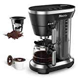Sboly 2 In 1 Coffee Maker for Capsule Pod and Ground Coffee, Single Serve Coffee Machine with Steam Micropressure Function, Fast Brewing