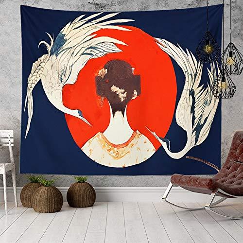 KHKJ Manta Japonesa Ola Ballena arowana Tela para Colgar en la Pared Cama Bohemia Boho decoración del hogar Tapiz mar Sol luz Solar A11 200x150cm