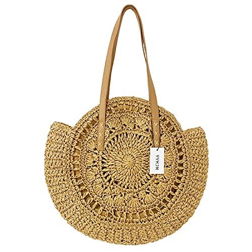 Creux Rond D'été de Paille Grand sac Tissé à L'épaule de sac Fourre-tout de Vocation pour les Femmes