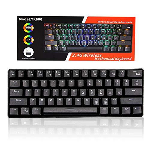 Tastiera meccanica da gioco, RGB retroilluminata Wired PBT Keycap impermeabile Tipo-C Mini Compact 61 Tasti Tastiera del Computer (RGB blacklit)