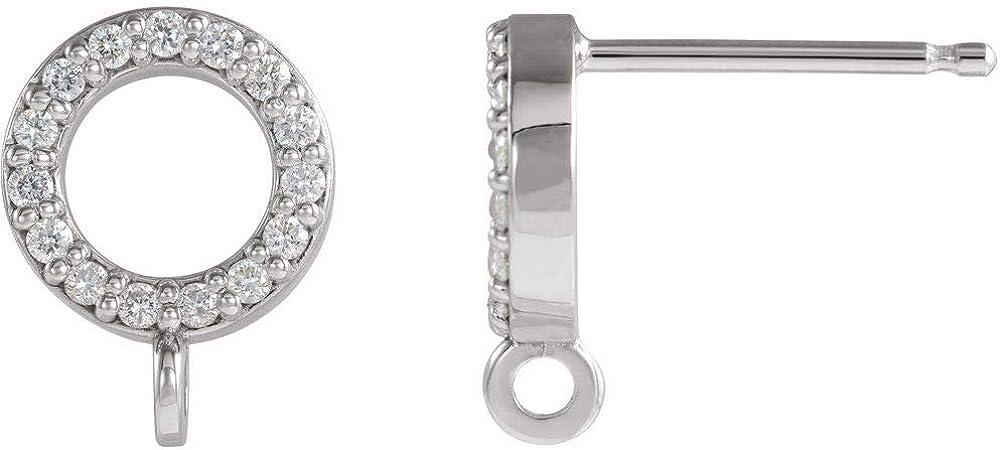 Solid Platinum .06 Cttw Diamond Earring Top (7.5mm x 7.5mm)
