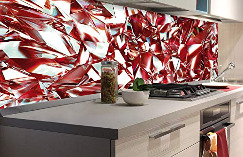 DIMEX LINE Küchenrückwand Folie selbstklebend ROTER KRISTALL   Klebefolie - Dekofolie - Spritzschutz für Küche   Premium QUALITÄT - Made in EU   180 cm x 60 cm