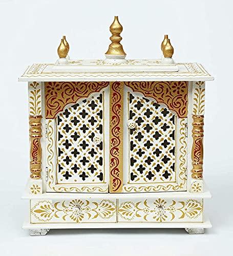 Millions Of Miles Rajasthani Ethnic - Templo de madera hecho a mano, Mandir/Pooja Ghar/Mandapam Jali Gate Pintura en oro blanco, 45,7 x 22,8 x 53,3 cm exterior y 46 x 22,8 cm