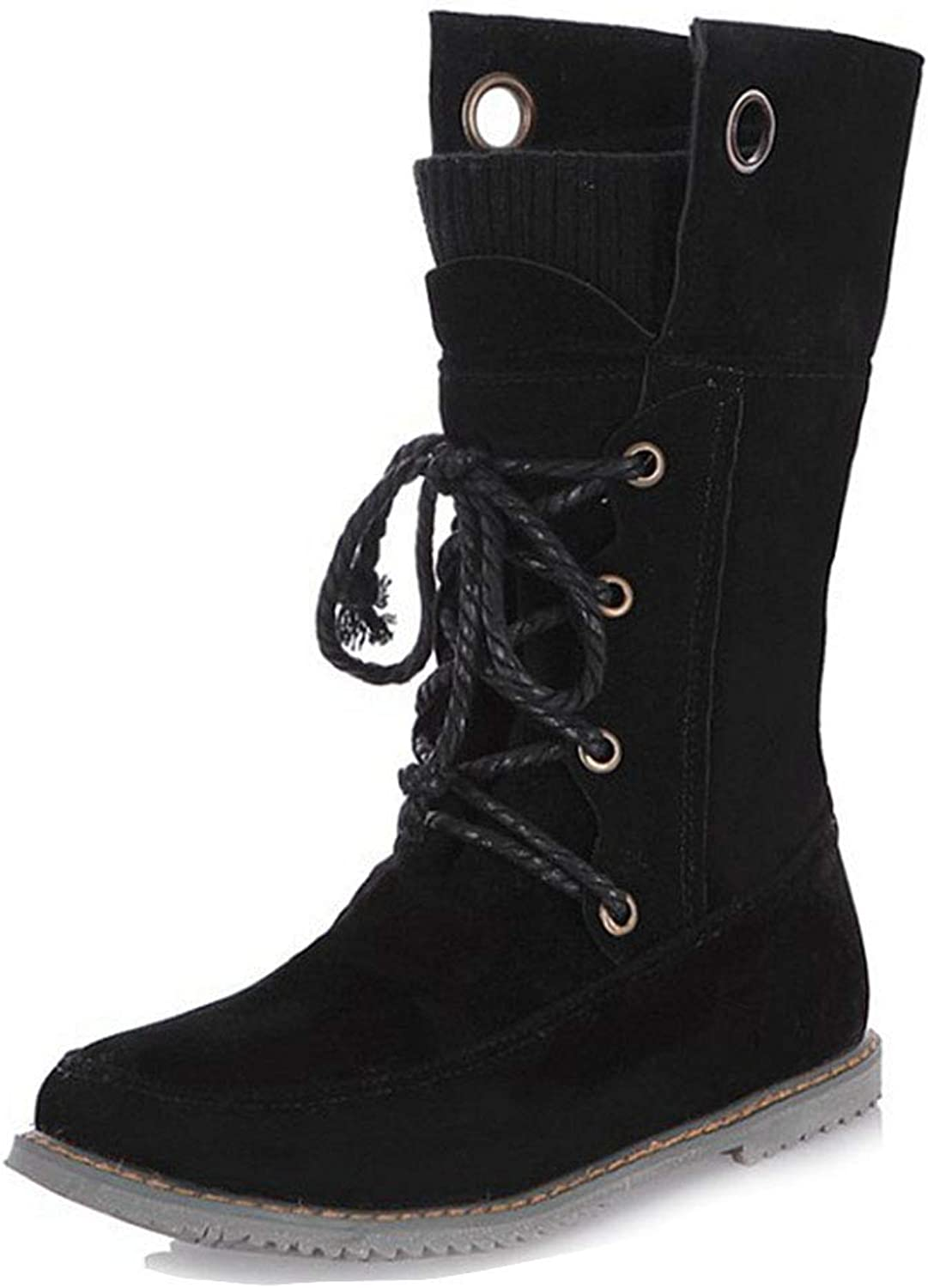 Fashion shoesbox Women's Lace Up Flat Combat Ankle Boots Round Toe Comfort Riding Bootie Casual Walking Short Martin Boot