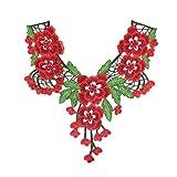 Collar de encaje de alta calidad con flores bordadas de tela de...