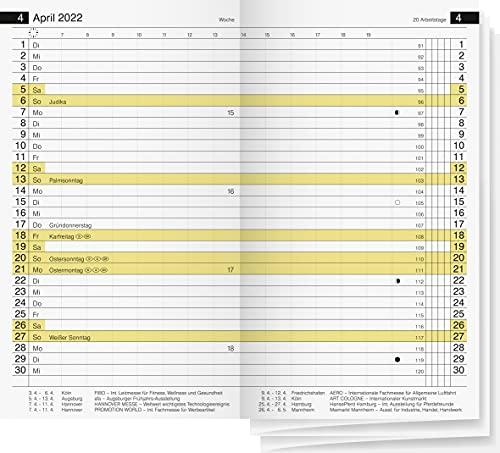 rido/idé 7045600002 Taschenkalender/Faltkalender Miniplaner d12 Ersatzkalendarium, 2 Seiten = 1 Woche, 87 x 153 mm, Kalendarium 2022