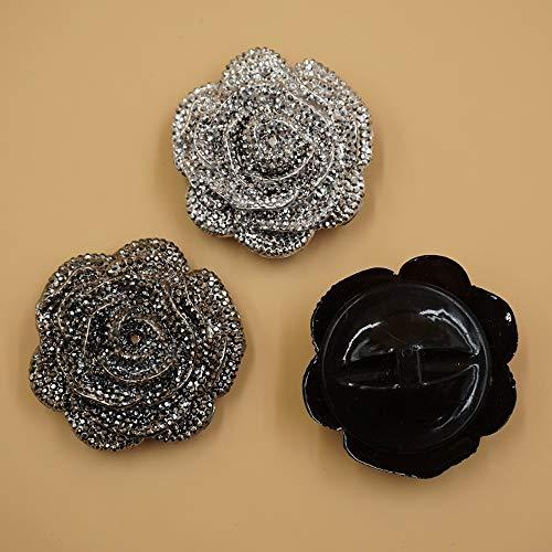 Htipdfg Botones 2 Piezas Rose Shank Botones de plstico para Abrigos Disfraz Silver Gray Negro Costura DIY Crafts 4.5 cm (Color : Silver, Size : 4.5 cm)