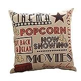 Do4U Cotton Linen Home Decor Sofa Throw Pillow Cover Cushion Case 18 x 18 inch (Alphabet) (POP Moive)