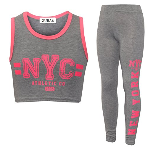 Ensemble 2 pièces leggings et crop top, pour fille 85 Brooklyn New York Squad NYC - Gris - 11-12 ans