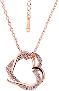 Yellow Chimes Embracing Hearts-in-Love 18K Real Gold Plated Austrian Crystal Pendant for Girls