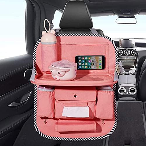 Veshow Organizador del Asiento Trasero del Automóvil Bolsas de Almacenamiento de Asiento Trasero con Soporte Transparente para Tableta y Mesa de Comedor Plegable 8 Bolsillos Rosa