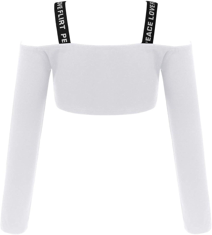 Loodgao Kids Girls Dance Crop Tops Long Sleeve Shoulder Straps Shirt Gymnastics Yoga Athletic Tees Sportswear