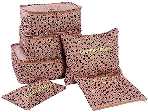 TEPET Conjunto de Bolsa de Almacenamiento de Viaje Organizador de Viaje Bolsas de Embalaje Bolsa de cosméticos de Maquillaje con Cremallera para Almacenamiento de Viaje en casa 36.5 * 26 * 2cm Leopa
