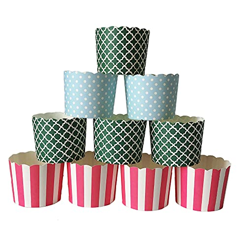 Paper Baking Cups 90-Pack 6 Oz Greaseproof Baking Cups Cupcake Muffin Cases Disposable Cupcake Wrappers For Birthday Baby Shower Wedding And Party-Pink Vertical Blue Polka Dot And Green Quadrafoil