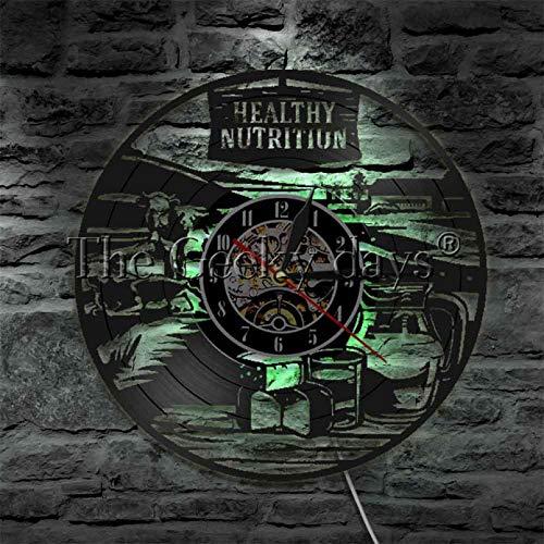 ZZLLL Reloj de Pared de nutrición Saludable Decoración de Vida Saludable Comestibles Receta Reloj de Vinilo LP Reloj de decoración Reloj-con LED