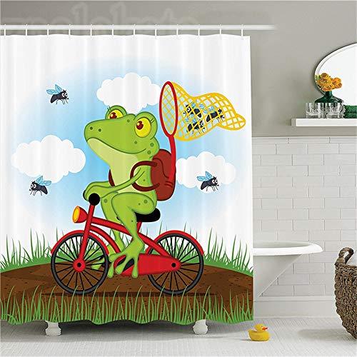ZLWSSA 3D Wasserdicht Duschvorhang Tier Lustiger Frosch Auf Fahrrad Fang Jagd Fliegen In Der Natur Illustration Von Wild Life 180x180cm