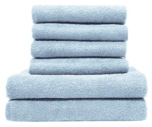 ZOLLNER Juego de Toallas de baño 6 Piezas, azúl Celeste, algodón