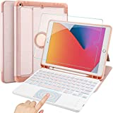 IVSO Kompatibel mit iPad 8/7 (Modell 2020/2019) Beleuchtete Tastatur mit Touchpad, QWERTZ Kabellose iPad 10.2 Tastatur Hülle + Panzerglas, Roségold