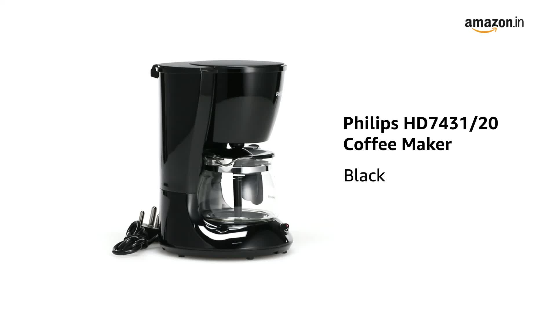 Buy Philips Hd7431 20 760 Watt Coffee Maker Black Online At Low Prices In India Amazon In