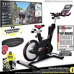 Sportstech Elite Indoor Cycle Bike - niemiecka marka jakości - Video Events & Multiplayer APP, sterowany komputerowo magnetyczny układ hamulcowy, koło zamachowe 26KG, kierownica sportowa SX600 Speedbike, ergeometr z eBookiem