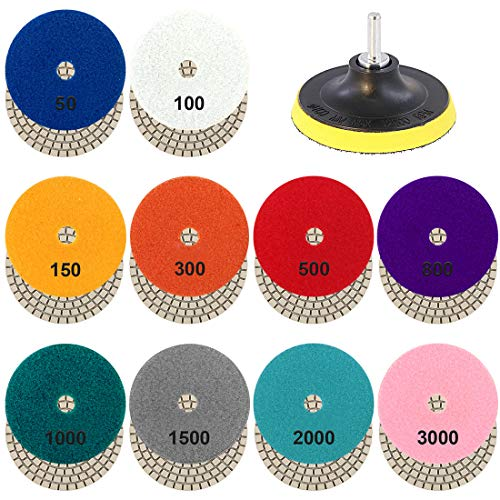 Glarks 4 Inch 10 Pads 50 to 3000 Grit Wet Diamond Polishing Pads and Hook and 4 Inch Loop Backing Holder Disc with 1/4 Inch Shank Set for Granite, Stone, Concrete, Marble, Travertine Polishing