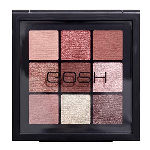 GOSH Eyedentity Lidschatten-Palette 001 BE HONEST mit 9 perfekt abgestimmten Farben in Matt & Metallic | kombinierbar für Tages-Make-Up & glitzernde Looks für den Abend | vegan & parfümfrei