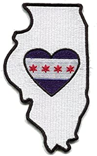 Heart in Illinois Embroidered Patch. Chicago City Flag Heart. A Threaded Patch with a Sticky Back for Instant Application on Fabric, Plastic, Glass, Wood 312