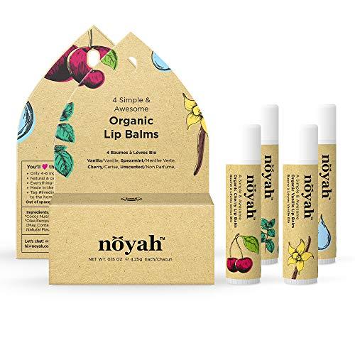 4-flavor Organic Lip Balm Combo Pack: Cherry, Vanilla, Spearmint, Unscented