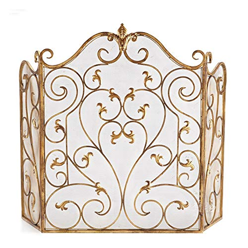 Best Prices! WJMLS Fireplace Guard Large Arched Screens Gold - 3 Panel Wood Fire Spark Guard Foldabl...