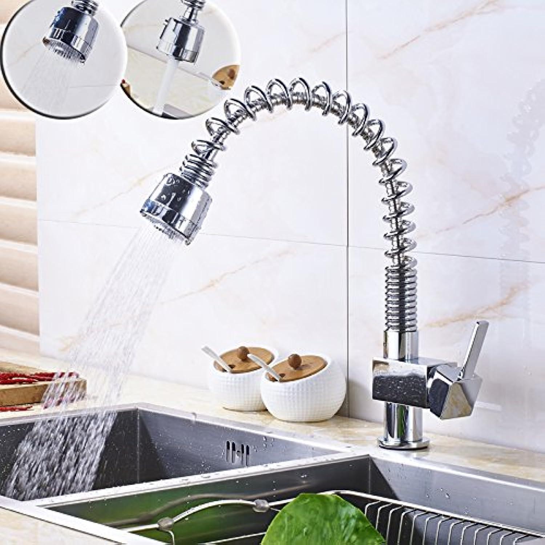 Maifeini  Moderne Feder Herausziehen Küche Küchenarmaturen Einzigen Griff Deck Montiert Messing Verchromt Wasseranschlu Mit Heiem Und Kaltem Wasser