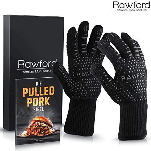 Rawford Premium Grillhandschuhe Feuerfeste Ofenhandschuhe für bis zu 500 °C - Hitzebeständige Backhandschuhe mit extra Langen Händeschutz - Perfekt zum Arbeiten am Grill & Dutch Oven