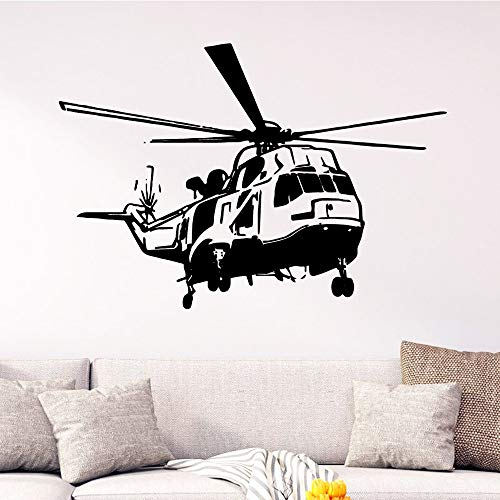 XCSJX Fashion helicopter wall art decal wall sticker material living room children's room wall decoration 48x69cm