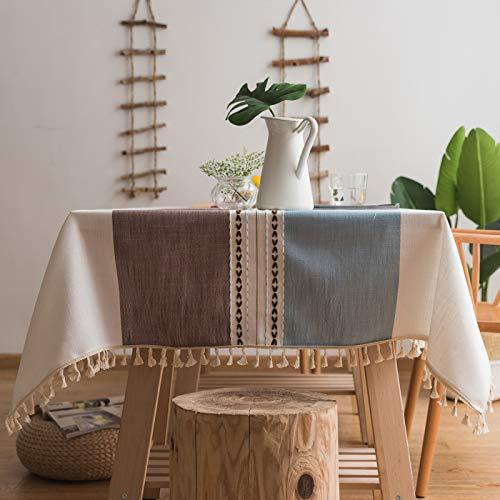 EMPERSTAR Mantele Borla de Patchwork para la Cocina del hogar del Hotel Impermeable y Prueba de Aceite Blue Curry 90x90cm