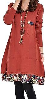 [セカンドルーツ] 小花裾 重ね着風 Aライン 長袖 チュニック ワンピース レディース M~3XL